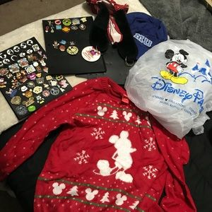 Disney land lot ( pins, hats,sweater, rain cover)